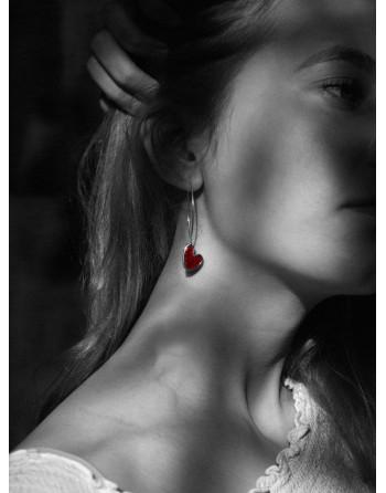 Heart enamelled earrings, red