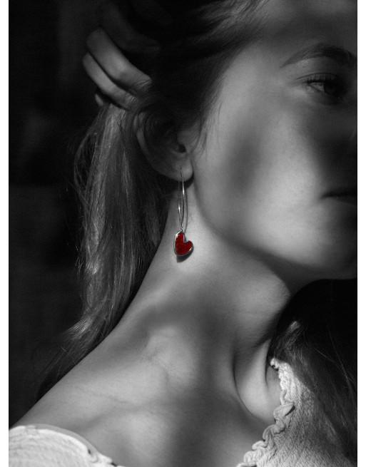 Sydän korvakorut emaloitu, punainen