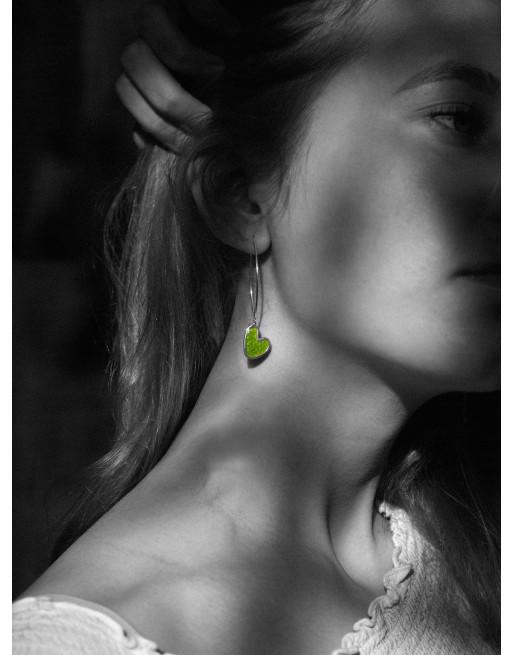 Heart enamelled earrings, lime