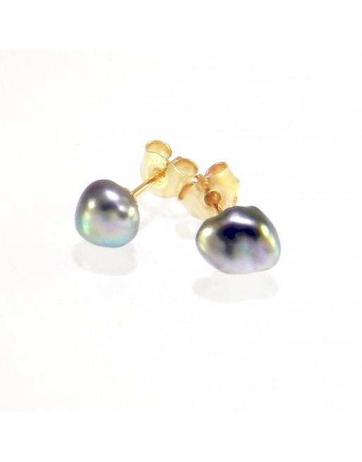 Tahiti Pearl Earrings, yellow gold