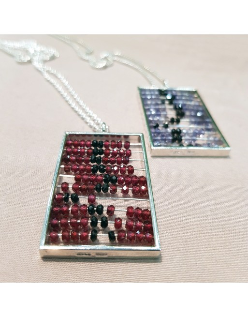 Abacus pendant, red & blue